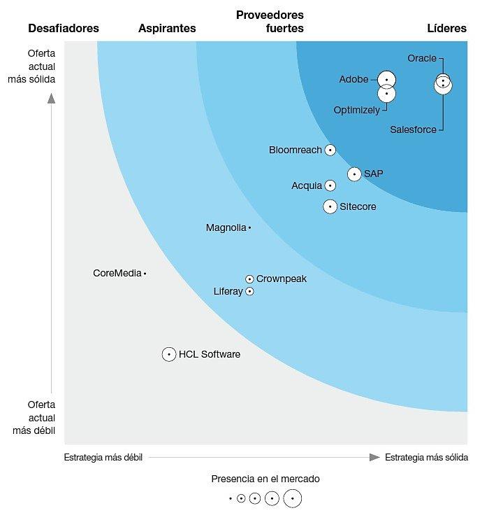 Fuente: The Forrester Wave™: Plataformas de experiencia digital, tercer trimestre de 2021